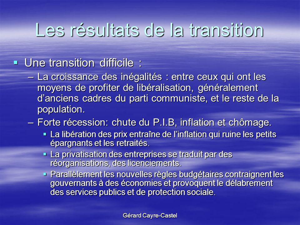 Gérard Cayre-Castel Les résultats de la transition Une transition difficile : Une transition difficile : –La croissance des inégalités : entre ceux qu