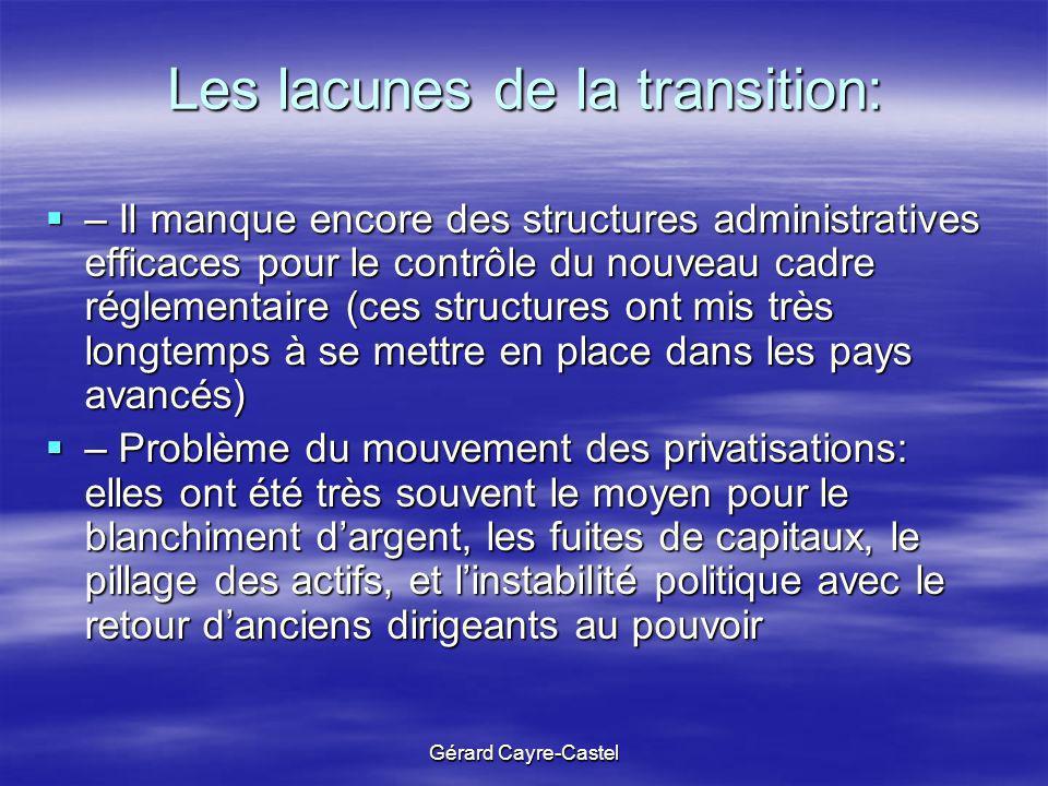 Gérard Cayre-Castel Les lacunes de la transition: – Il manque encore des structures administratives efficaces pour le contrôle du nouveau cadre réglem