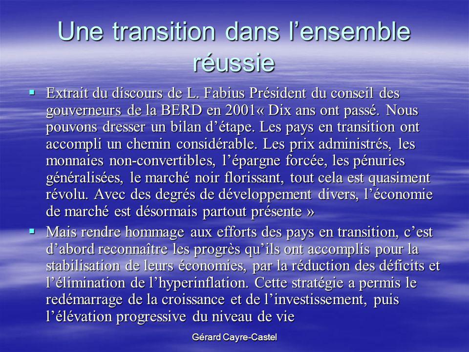 Gérard Cayre-Castel Une transition dans lensemble réussie Extrait du discours de L. Fabius Président du conseil des gouverneurs de la BERD en 2001« Di