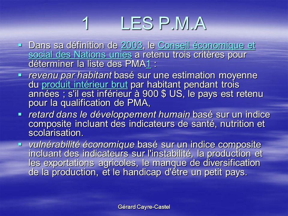 Gérard Cayre-Castel 1 LES P.M.A Dans sa définition de 2003, le Conseil économique et social des Nations unies a retenu trois critères pour déterminer
