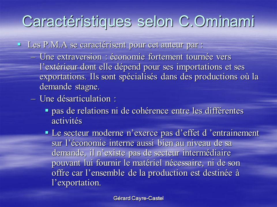 Gérard Cayre-Castel Caractéristiques selon C.Ominami Les P.M.A se caractérisent pour cet auteur par : Les P.M.A se caractérisent pour cet auteur par :