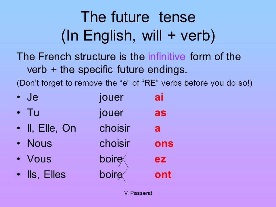 V. Passerat The future tense (In English, will + verb) The French structure is the infinitive form of the verb + the specific future endings. (Dont fo
