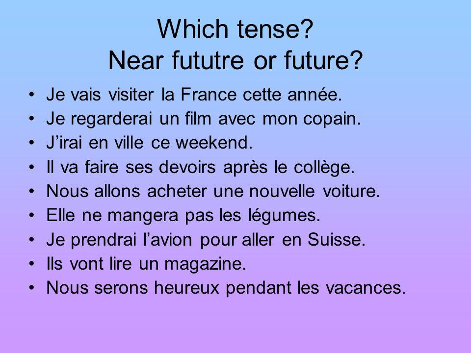 Which tense? Near fututre or future? Je vais visiter la France cette année. Je regarderai un film avec mon copain. Jirai en ville ce weekend. Il va fa