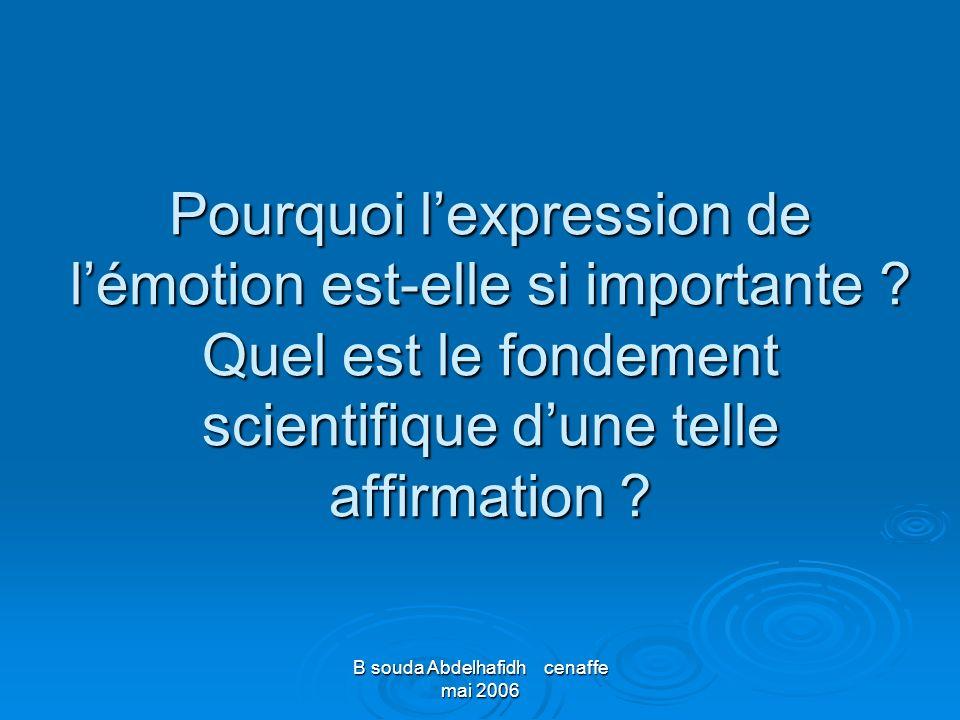 B souda Abdelhafidh cenaffe mai 2006 Pourquoi lexpression de lémotion est-elle si importante ? Quel est le fondement scientifique dune telle affirmati