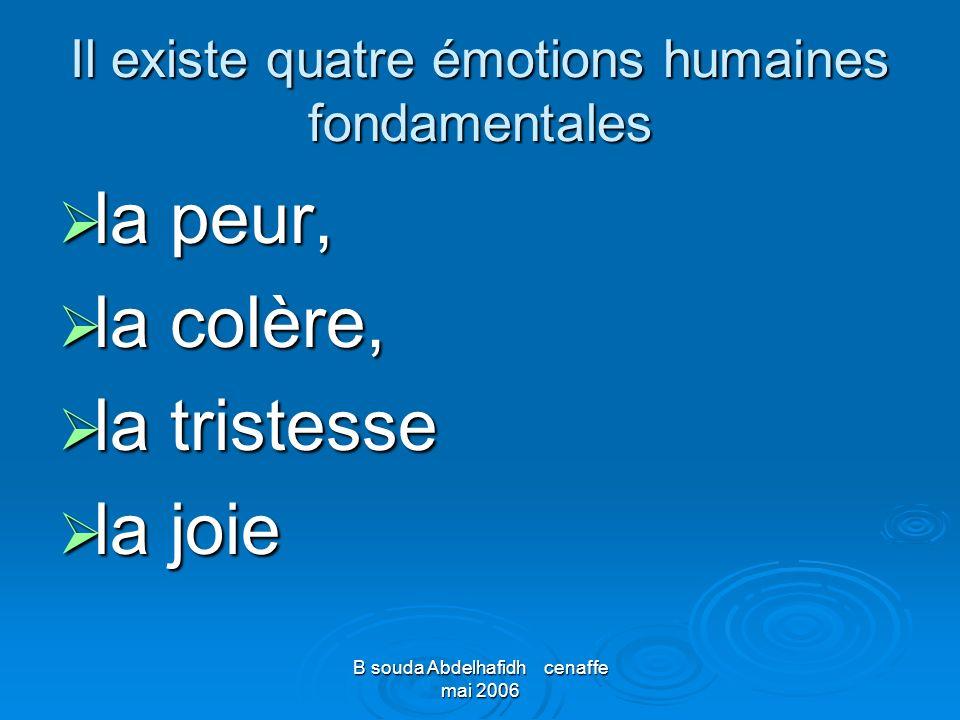 B souda Abdelhafidh cenaffe mai 2006 Il existe quatre émotions humaines fondamentales la peur, la peur, la colère, la colère, la tristesse la tristess