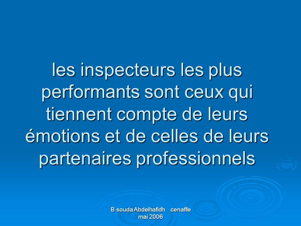 B souda Abdelhafidh cenaffe mai 2006 les inspecteurs les plus performants sont ceux qui tiennent compte de leurs émotions et de celles de leurs parten