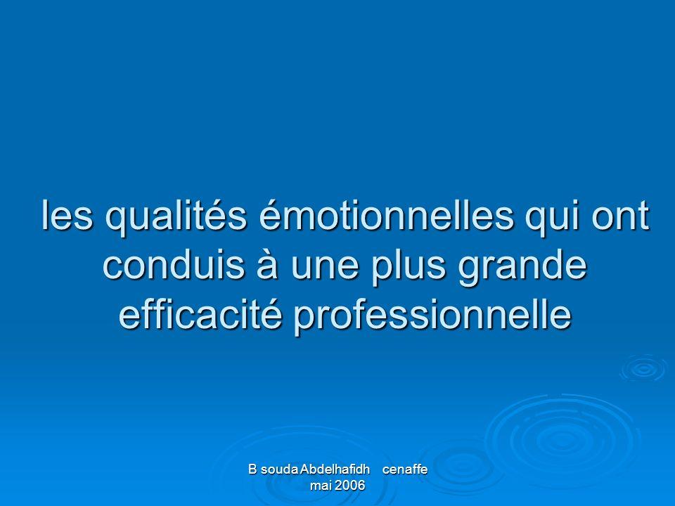 B souda Abdelhafidh cenaffe mai 2006 les qualités émotionnelles qui ont conduis à une plus grande efficacité professionnelle