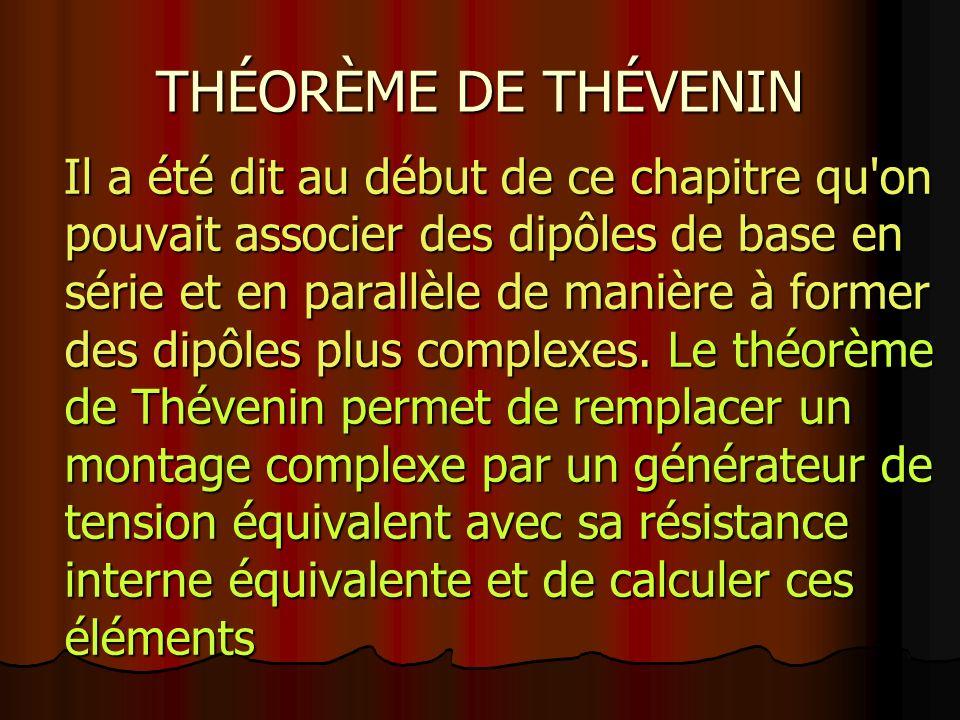 THÉORÈME DE THÉVENIN Il a été dit au début de ce chapitre qu on pouvait associer des dipôles de base en série et en parallèle de manière à former des dipôles plus complexes.