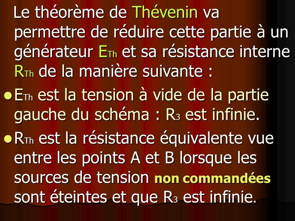 Le théorème de Thévenin va permettre de réduire cette partie à un générateur E Th et sa résistance interne R Th de la manière suivante : Le théorème de Thévenin va permettre de réduire cette partie à un générateur E Th et sa résistance interne R Th de la manière suivante : E Th est la tension à vide de la partie gauche du schéma : R 3 est infinie.