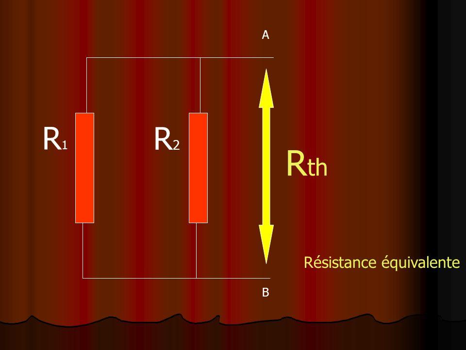 R1R1 R2R2 R th A B Résistance équivalente