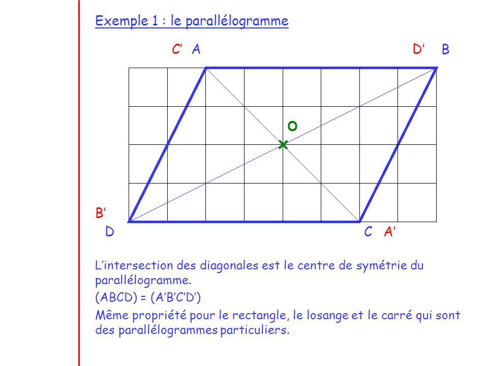 Exemple 1 : le parallélogramme O Lintersection des diagonales est le centre de symétrie du parallélogramme. (ABCD) = (ABCD) Même propriété pour le rec