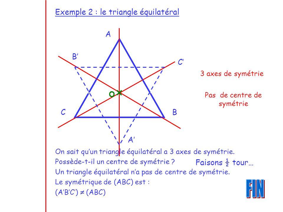 Exemple 2 : le triangle équilatéral On sait quun triangle équilatéral a 3 axes de symétrie. Possède-t-il un centre de symétrie ? Un triangle équilatér