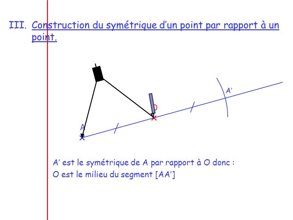 III.Construction du symétrique dun point par rapport à un point. A O A A est le symétrique de A par rapport à O donc : O est le milieu du segment [AA]