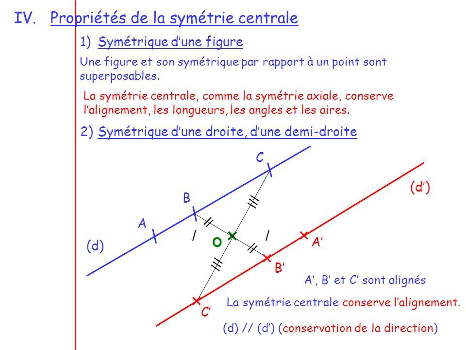 IV.Propriétés de la symétrie centrale 1)Symétrique dune figure Une figure et son symétrique par rapport à un point sont superposables. La symétrie cen