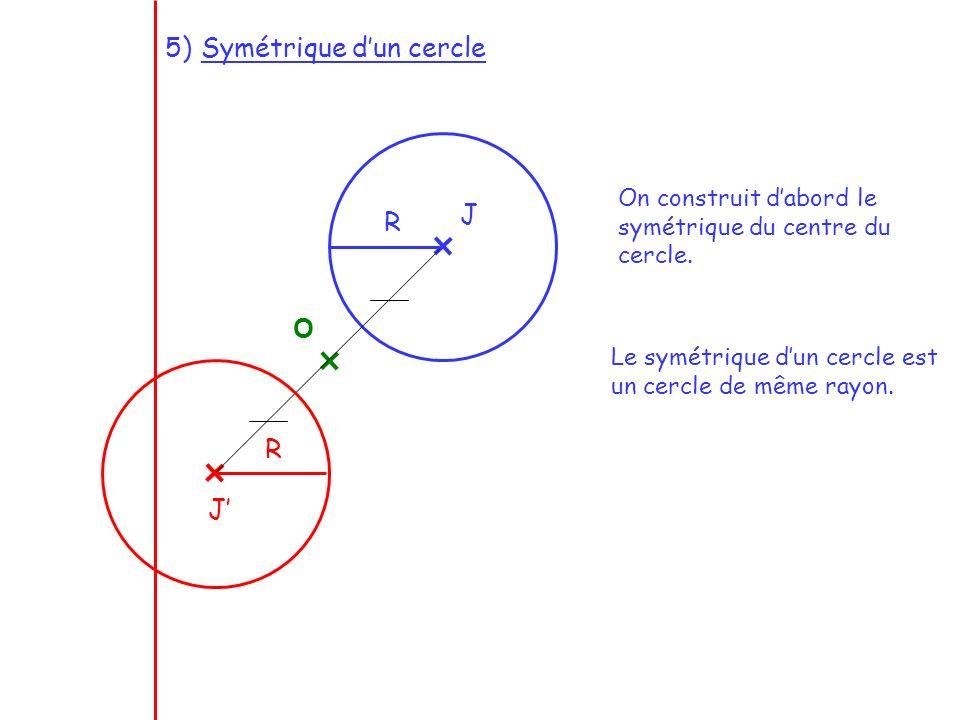 On construit dabord le symétrique du centre du cercle. Le symétrique dun cercle est un cercle de même rayon. O J J R R 5)Symétrique dun cercle