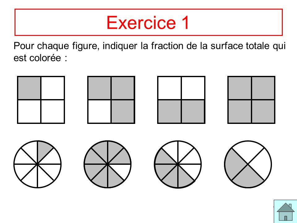 11 Exercice 1 Pour chaque figure, indiquer la fraction de la surface totale qui est colorée :