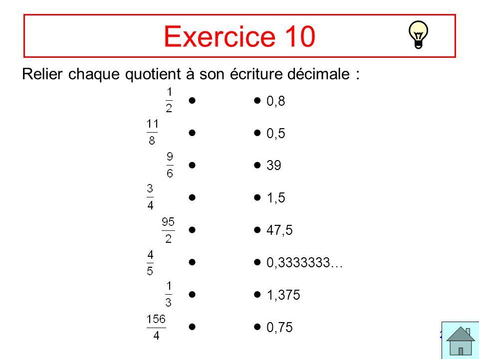 20 Exercice 10 Relier chaque quotient à son écriture décimale : 0,8 0,5 39 1,5 47,5 0,3333333… 1,375 0,75
