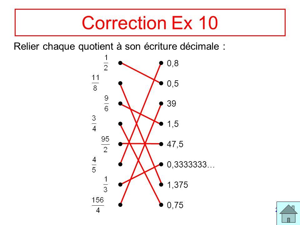 21 Correction Ex 10 Relier chaque quotient à son écriture décimale : 0,8 0,5 39 1,5 47,5 0,3333333… 1,375 0,75