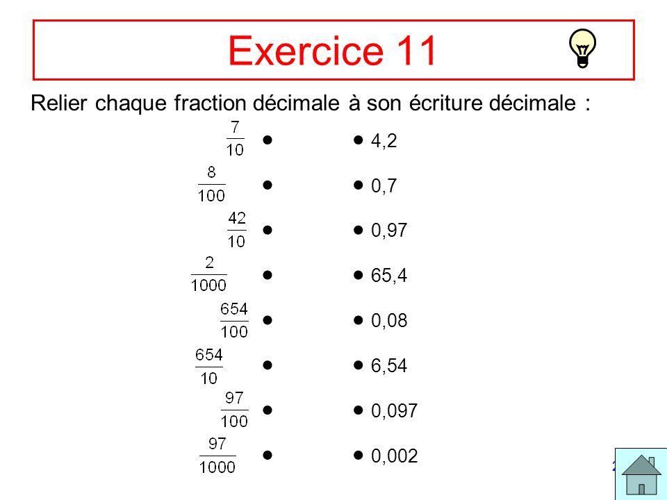 22 Exercice 11 Relier chaque fraction décimale à son écriture décimale : 4,2 0,7 0,97 65,4 0,08 6,54 0,097 0,002