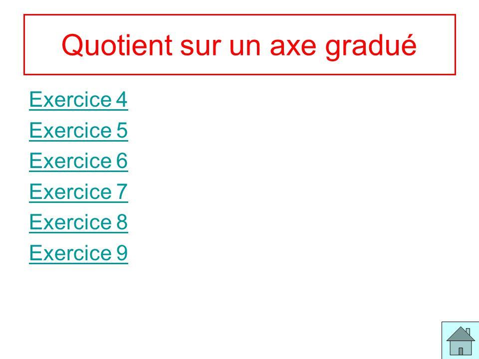4 Quotient sur un axe gradué Exercice 4 Exercice 5 Exercice 6 Exercice 7 Exercice 8 Exercice 9