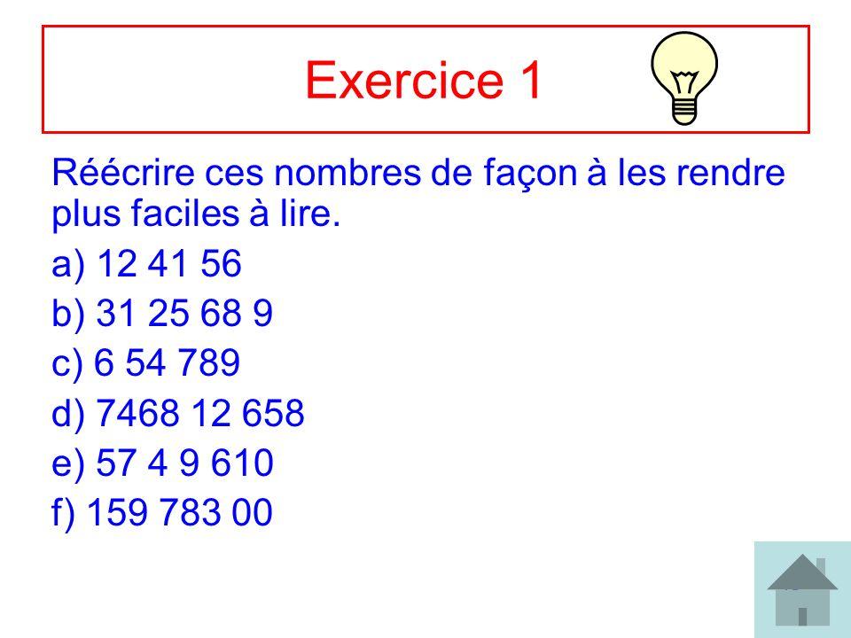 10 Exercice 1 Réécrire ces nombres de façon à les rendre plus faciles à lire. a) 12 41 56 b) 31 25 68 9 c) 6 54 789 d) 7468 12 658 e) 57 4 9 610 f) 15
