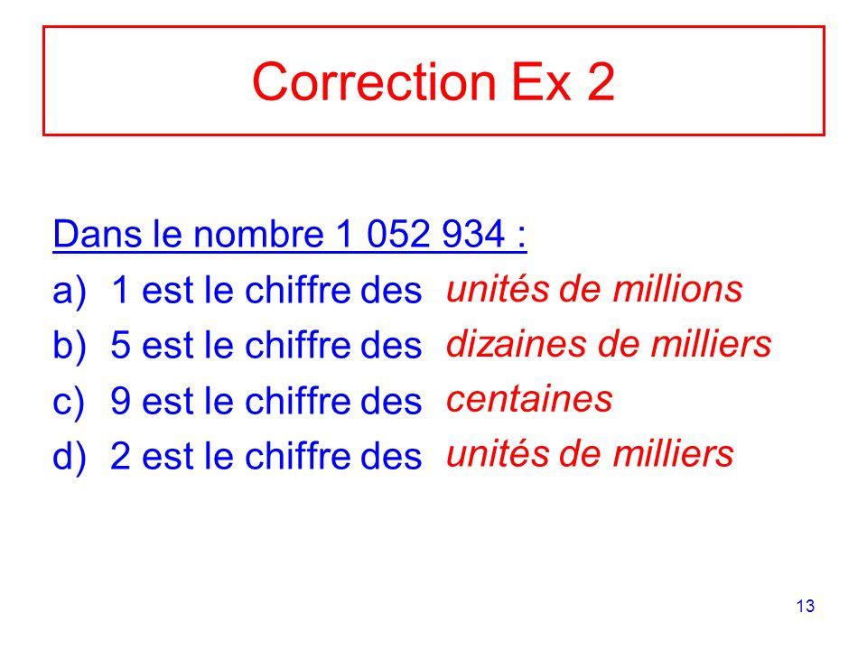 13 Correction Ex 2 Dans le nombre 1 052 934 : a)1 est le chiffre des b)5 est le chiffre des c)9 est le chiffre des d)2 est le chiffre des unités de mi