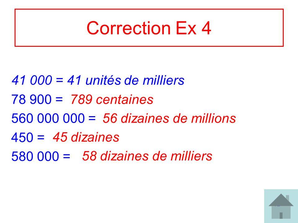 17 Correction Ex 4 41 000 = 41 unités de milliers 78 900 = 560 000 000 = 450 = 580 000 = 789 centaines 56 dizaines de millions 45 dizaines 58 dizaines
