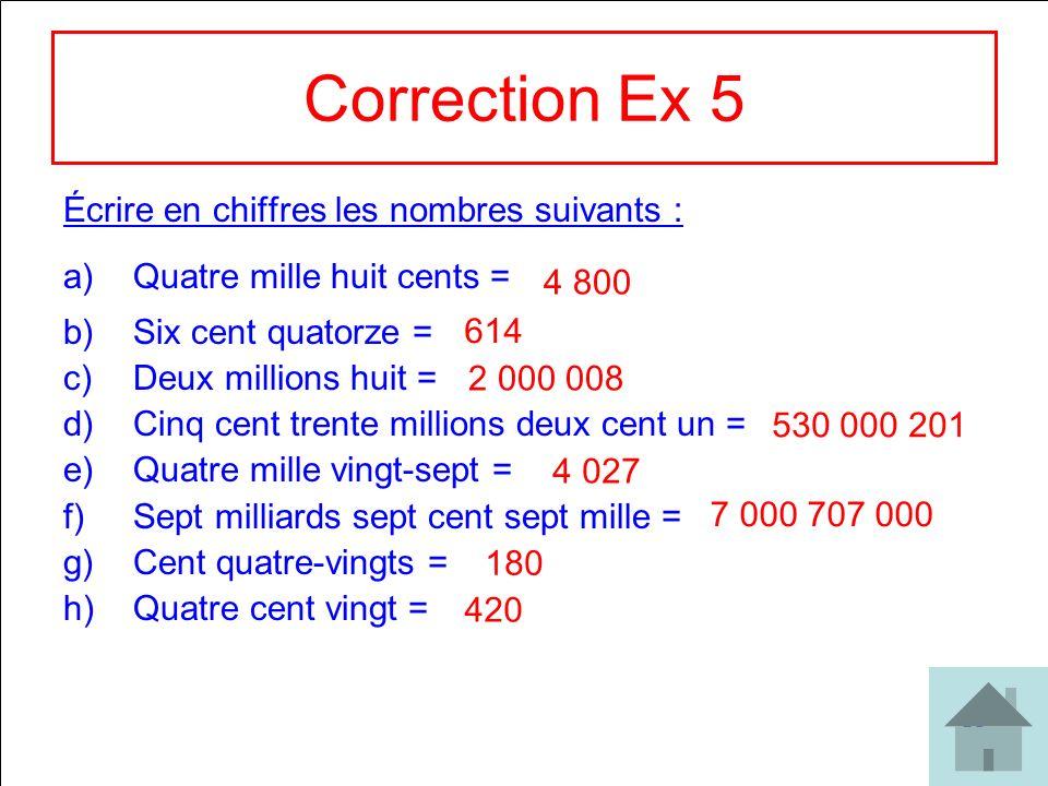 20 Correction Ex 5 Écrire en chiffres les nombres suivants : a)Quatre mille huit cents = b)Six cent quatorze = c)Deux millions huit = d)Cinq cent tren