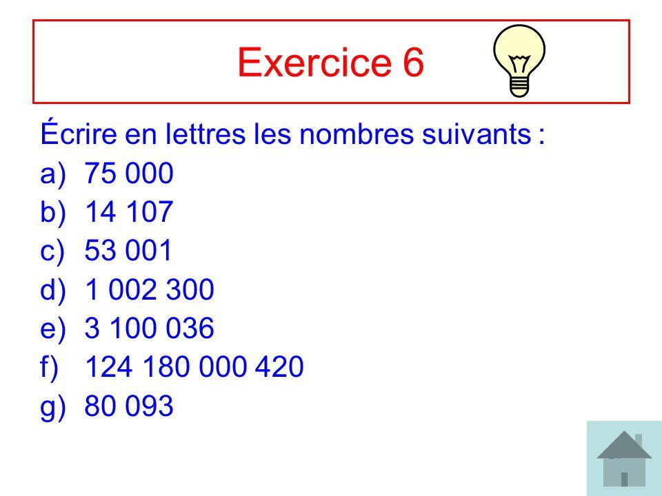 21 Exercice 6 Écrire en lettres les nombres suivants : a)75 000 b)14 107 c)53 001 d)1 002 300 e)3 100 036 f)124 180 000 420 g)80 093