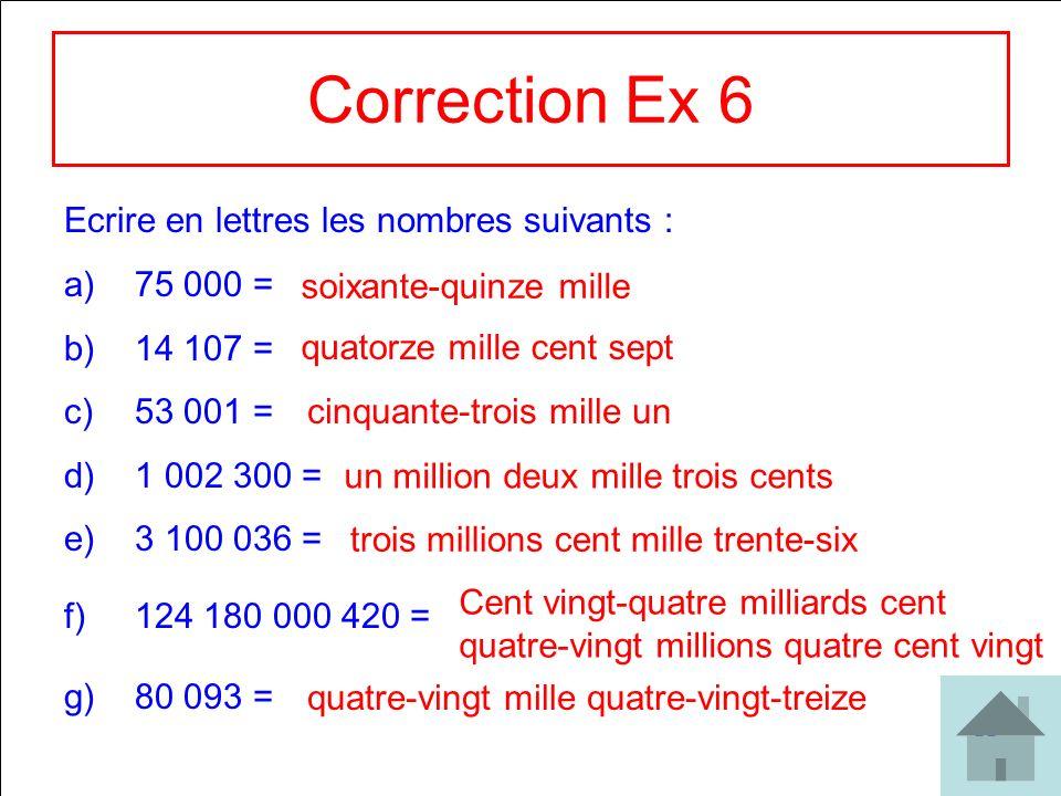 22 Correction Ex 6 Ecrire en lettres les nombres suivants : a)75 000 = b)14 107 = c)53 001 = d)1 002 300 = e)3 100 036 = f)124 180 000 420 = g)80 093