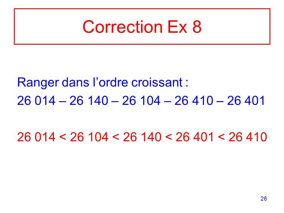 26 Correction Ex 8 Ranger dans lordre croissant : 26 014 – 26 140 – 26 104 – 26 410 – 26 401 26 014 < 26 104 < 26 140 < 26 401 < 26 410