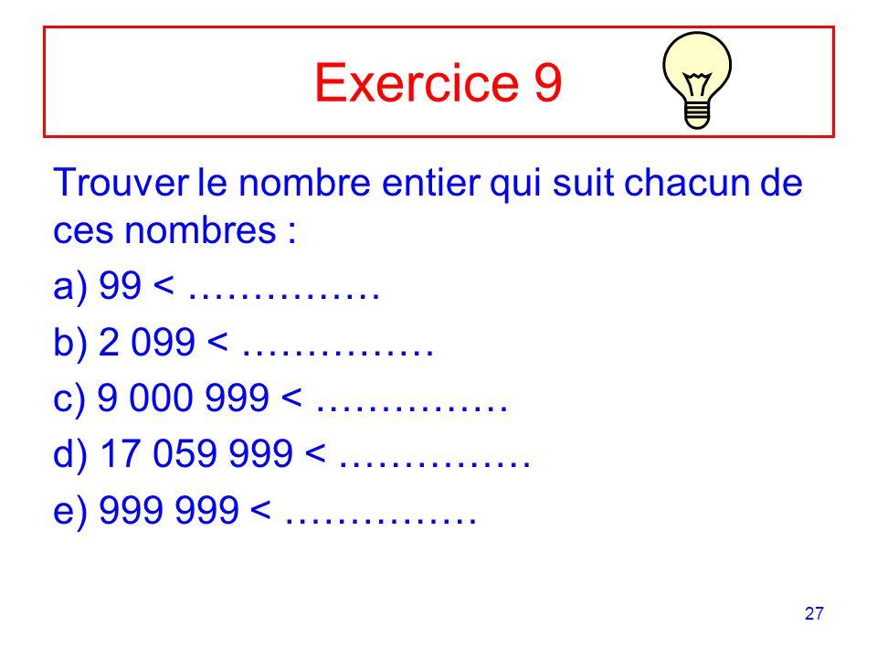 27 Exercice 9 Trouver le nombre entier qui suit chacun de ces nombres : a) 99 < …………… b) 2 099 < …………… c) 9 000 999 < …………… d) 17 059 999 < …………… e) 9