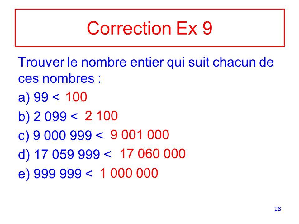 28 Correction Ex 9 Trouver le nombre entier qui suit chacun de ces nombres : a) 99 < b) 2 099 < c) 9 000 999 < d) 17 059 999 < e) 999 999 < 100 2 100