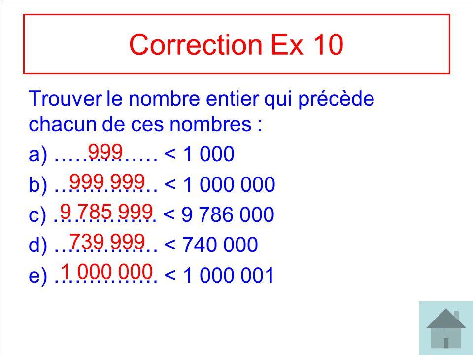 30 Correction Ex 10 Trouver le nombre entier qui précède chacun de ces nombres : a) …………… < 1 000 b) …………… < 1 000 000 c) …………… < 9 786 000 d) …………… <