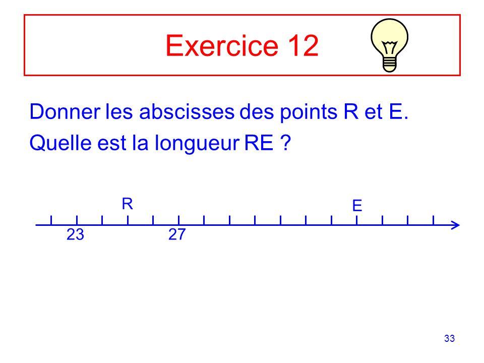 33 Exercice 12 Donner les abscisses des points R et E. Quelle est la longueur RE ? 2327 R E
