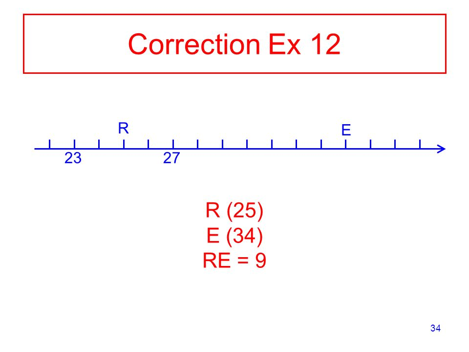 34 Correction Ex 12 2327 R E R (25) E (34) RE = 9