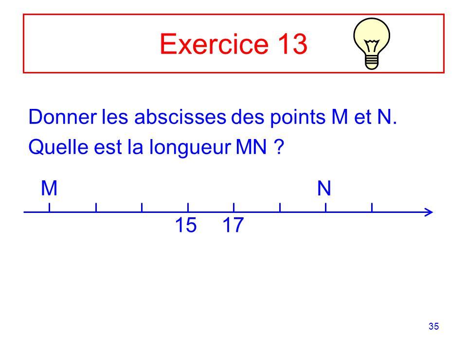 35 Exercice 13 Donner les abscisses des points M et N. Quelle est la longueur MN ? M 1517 N