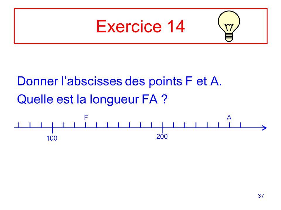 37 Exercice 14 Donner labscisses des points F et A. Quelle est la longueur FA ? 100 200 FA