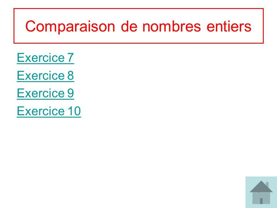8 Comparaison de nombres entiers Exercice 7 Exercice 8 Exercice 9 Exercice 10