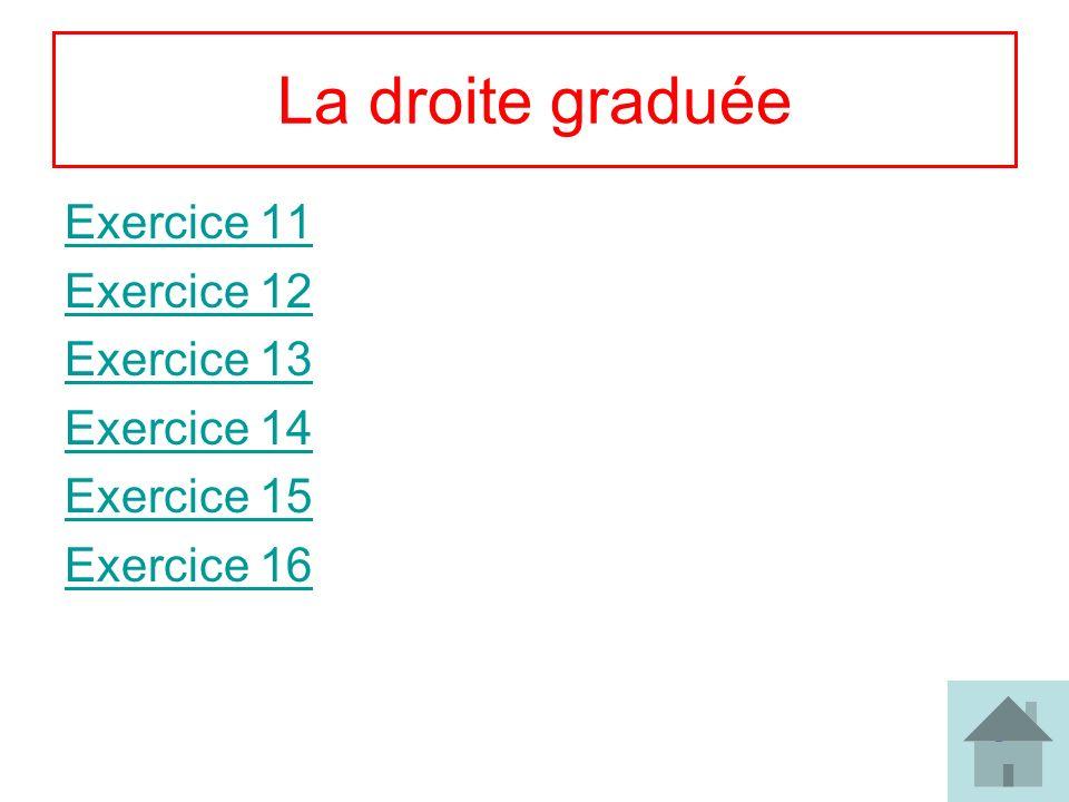 9 La droite graduée Exercice 11 Exercice 12 Exercice 13 Exercice 14 Exercice 15 Exercice 16