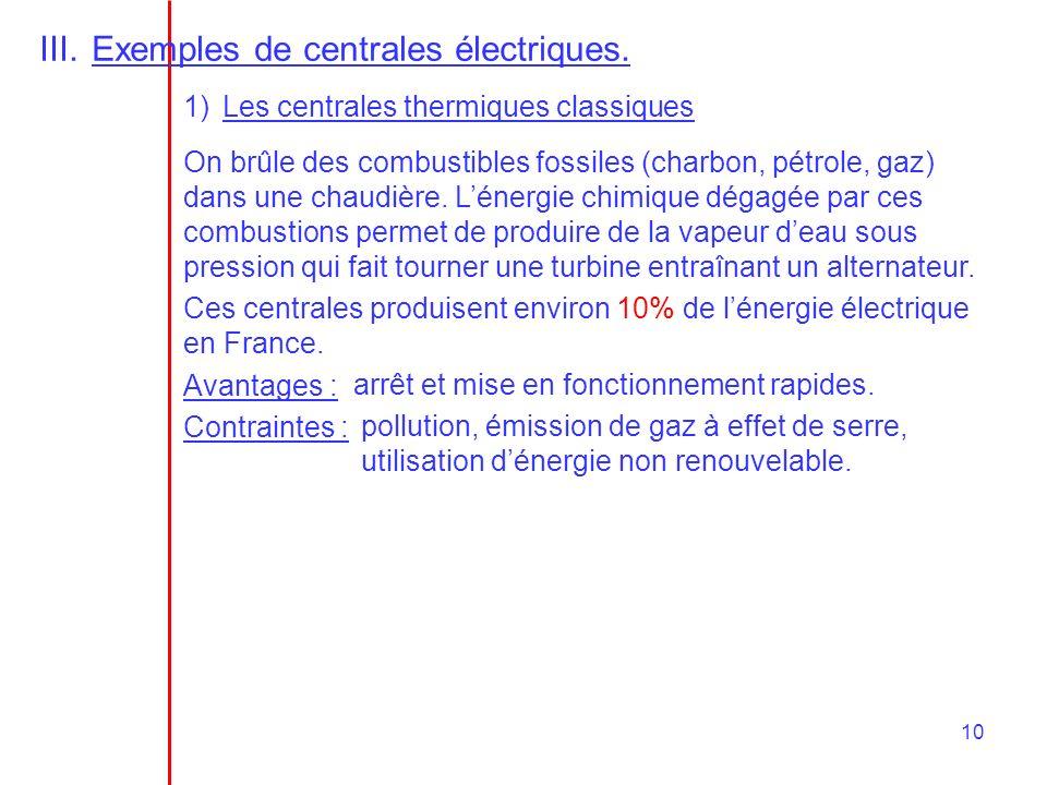 10 III.Exemples de centrales électriques.