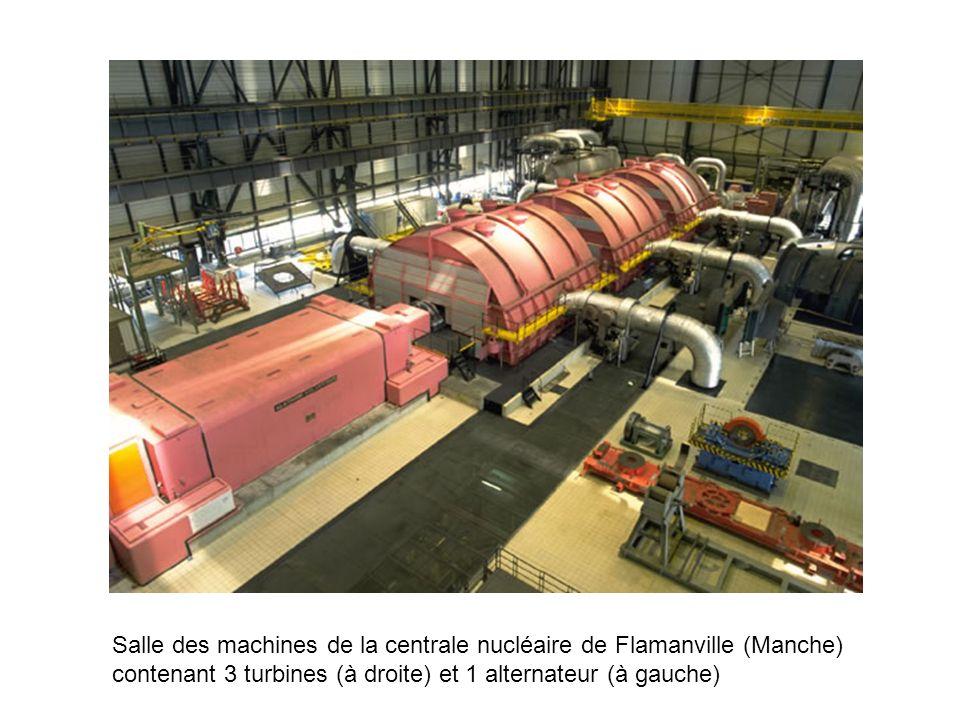 Salle des machines de la centrale nucléaire de Flamanville (Manche) contenant 3 turbines (à droite) et 1 alternateur (à gauche)
