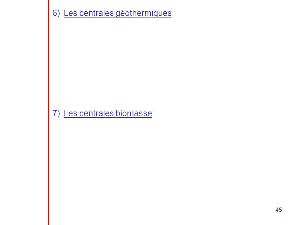 45 6)Les centrales géothermiques 7)Les centrales biomasse