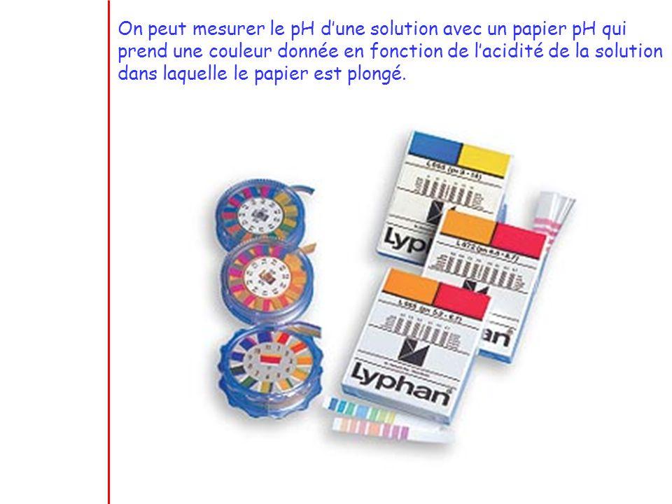On peut mesurer le pH d une solution avec un papier pH qui prend une couleur donnée en fonction de l acidité de la solution dans laquelle le papier es