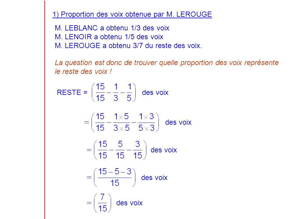 1) Proportion des voix obtenue par M. LEROUGE M. LEBLANC a obtenu 1/3 des voix M.