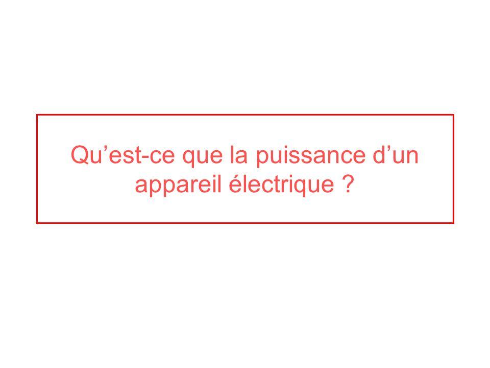Quest-ce que la puissance dun appareil électrique ?