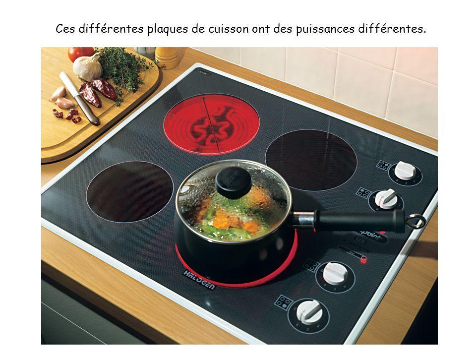 Ces différentes plaques de cuisson ont des puissances différentes.