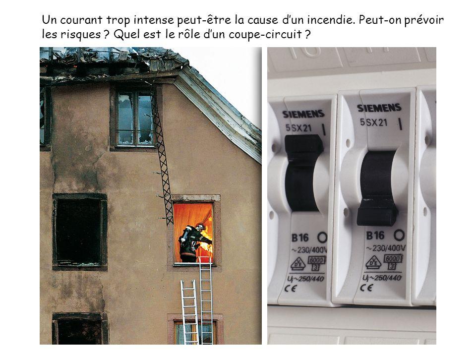 Un courant trop intense peut-être la cause dun incendie. Peut-on prévoir les risques ? Quel est le rôle dun coupe-circuit ?