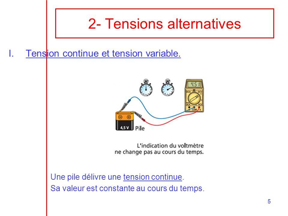 5 2- Tensions alternatives I.Tension continue et tension variable. Une pile délivre une tension continue. Sa valeur est constante au cours du temps.