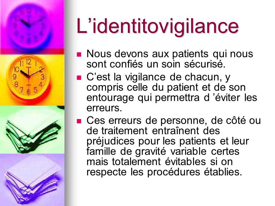 Lidentitovigilance Nous devons aux patients qui nous sont confiés un soin sécurisé. Cest la vigilance de chacun, y compris celle du patient et de son